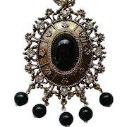 Celebrity Gems Sarah Coventry Large Oval Medallion Pendant Necklace