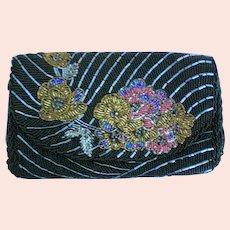 Beaded Floral Motif Envelope Evening Bag Purse