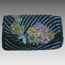 Beaded Floral Motif Envelope Evening Bag Purse