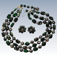 Mid-Century Triple Strand Bead Necklace with Clip Earrings