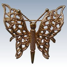 Monet Double Winged Gold tone Butterfly Pin
