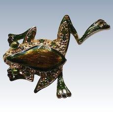 Flashy Frog Pin with Green Rhinestones