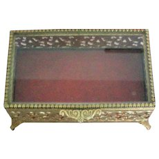 Gold tone Metal Vanity Casket Dresser Box by Avon