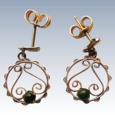 Petite 14K Gold Filigree Jade Dangle Earrings