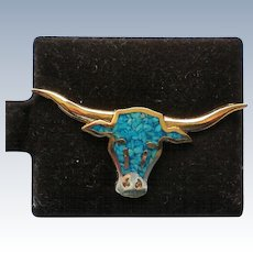 Turquoise Chip Long Horn Steer Bull Tie Tack Hat or Lapel Pin