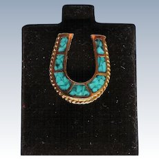 Lucky Horseshoe Turquoise Chip Brass Tie Tack Hat or Lapel Pin