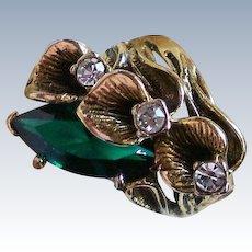18K GE Vargas Emerald Green Antiqued Costume Ring