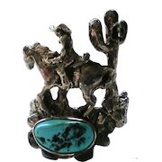 Western Theme Cowboy Horse and Cactus Turquoise Ring