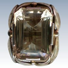 Large Citrine 14K Gold Custom Made Man's Ring