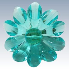 Blue Acrylic Daisy Pin marked W. Germany