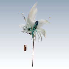 Feather Flower Stick / Lapel Pin