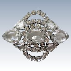 Rock Crystal and Rhinestone Brooch