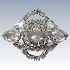 Rock Crystal and Rhinestone Brooch