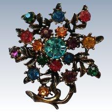 Vintage Multicolored Rhinestone Floral Pin