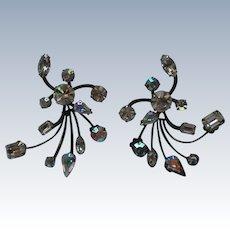 Fabulous Floral Spray Rhinestone Pierced Mid-Century Earrings