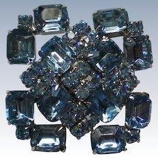 Sparkling Blue Rhinestone Brooch