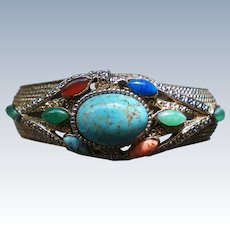 Egyptian Revival Multi Stone Clamper Bracelet