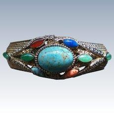 Egyptian Revival Multi Stone Clamper Bracelet