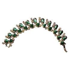 Green Thermoset Bracelet with AB Rhinestones