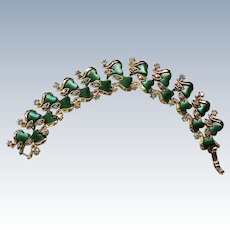 Green Thermoset Bracelet with AB Rhinestones