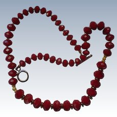 Ruby Red Faceted Bead Necklace