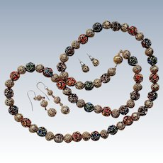 Faceted Rhinestone Prong Set Bead Necklace with 2 Sets of Earrings