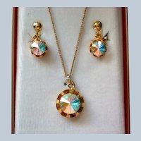 Renee Jeweline Originals Clear Rivoli Pendant and Clip Dangle Earrings in Original Box