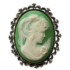 Gerry's Celluloid Cameo Brooch / Pendant