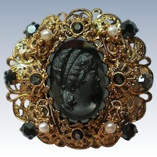 Vintage Black Cameo Brooch with Filigree Frame