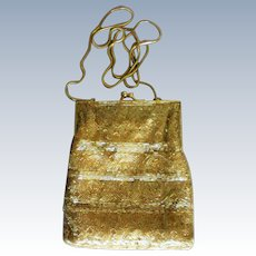 Gold Beaded Shoulder Bag from Hillard and Hanson