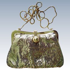 Gold Metal Mesh Evening Shoulder Bag