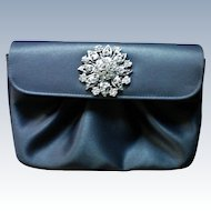 Gray Satin Evening Clutch Bag with Bling!