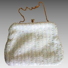 White Beaded Evening Bag Richere by Walborg