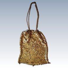 Flapper Drawstring Metal Mesh Wristlet Purse / Bag