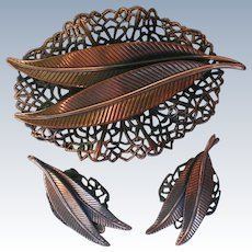 Copper Feather Brooch with Matching Clip Earrings