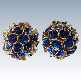 HUGE Fabulous Sequin and Bead Clip Earrings