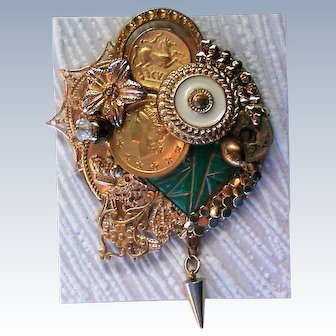 Coin Brooch with Buttons