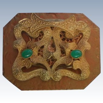 Asian Themed Metal Brooch with Jade Green Cabochons