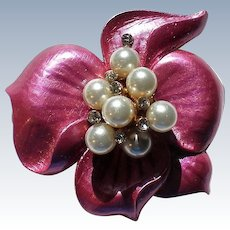 Pink Enameled Flower Brooch with faux Pearl and Rhinestone Center