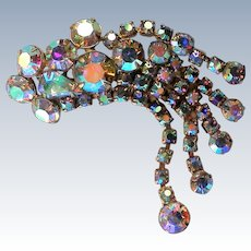 Dazzling Aurora Borales Dangle Brooch