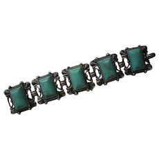 Chunky Five Link faux Turquoise Bracelet