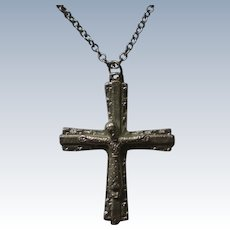 Italian Crucifix in Silver Tone Metal