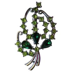 Sparkling Green Rhinestone Brooch