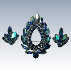 "Sarah Coventry ""Blue Lagoon"" Brooch with Clip Earrings"