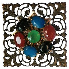 Multi Colored Sash Pin or Brooch