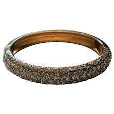 Pave' Set Crystal Gold tone Hinged Bangle Bracelet