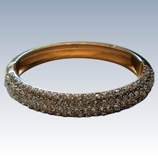 Pave' Set Crystal Gold tone Hinged Bangle Bracelet