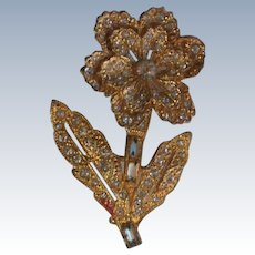 Gold tone Crystal Flower Trembler Brooch