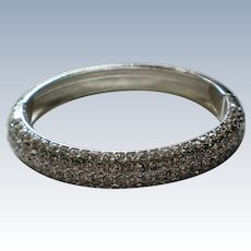 Pave' Set Crystal Silver tone Hinged Bangle Bracelet
