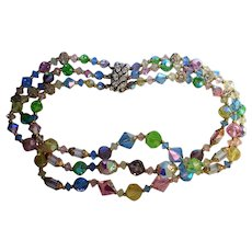 Pastel Crystal Beaded Triple Strand Necklace